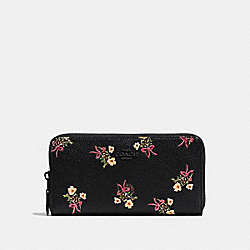 ACCORDION ZIP WALLET WITH FLORAL BOW PRINT - F28444 - BLACK/BLACK COPPER