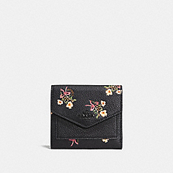 COACH F28445 - SMALL WALLET WITH FLORAL BOW PRINT BLACK/BLACK COPPER
