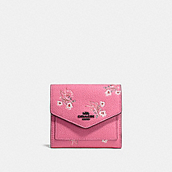 COACH F28445 Small Wallet With Floral Bow Print BRIGHT PINK/BLACK COPPER