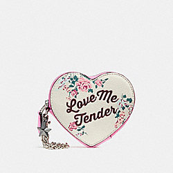 LOVE ME TENDER HEART COIN CASE - f28454 - SILVER/CHALK MULTI