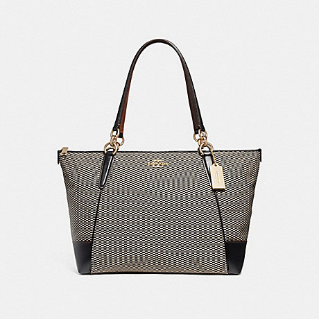 COACH F28467 AVA TOTE WITH LEGACY PRINT MILK/BLACK/LIGHT-GOLD