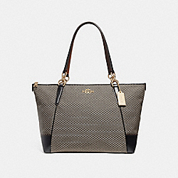 COACH F28467 Ava Tote With Legacy Print MILK/BLACK/LIGHT GOLD