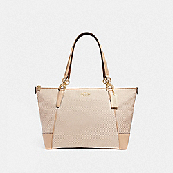 COACH F28467 Ava Tote With Legacy Print MILK/BEECHWOOD/LIGHT GOLD