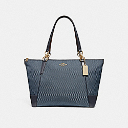 COACH F28467 Ava Tote With Legacy Print BLUE/MULTI/LIGHT GOLD