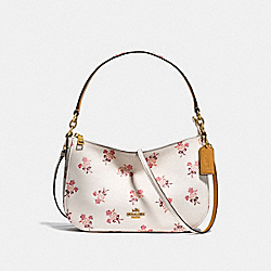 COACH F28482 Chelsea Crossbody With Floral Bow Print CHALK/OLD BRASS