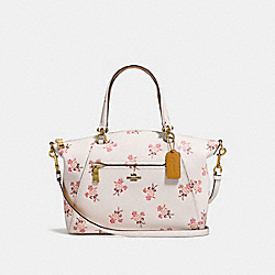 PRAIRIE SATCHEL WITH FLORAL BOW PRINT - F28483 - CHALK/OLD BRASS