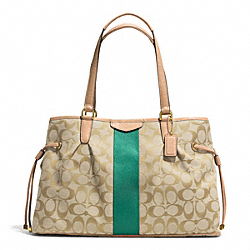 COACH F28501 - SIGNATURE STRIPE DRAWSTRING CARRYALL BRASS/KHAKI/EMERALD