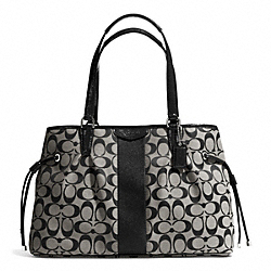 COACH F28501 Signature Stripe 12cm Drawstring Carryall SILVER/BLACK/WHITE/BLACK