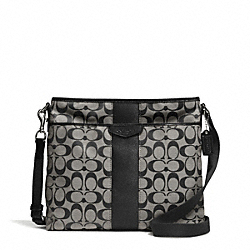 COACH F28502 Signature Stripe 12cm File Bag SILVER/BLACK/WHITE/BLACK