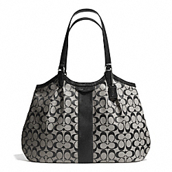 COACH F28503 Signature Stripe 12cm Devin Shoulder Bag SILVER/BLACK/WHITE/BLACK