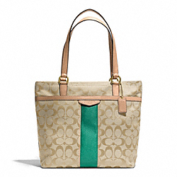 COACH F28504 - SIGNATURE STRIPE TOTE BRASS/KHAKI/EMERALD