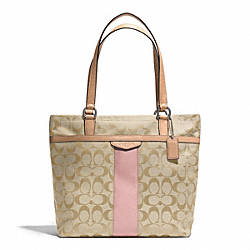 COACH F28504 - SIGNATURE STRIPE TOTE SILVER/LIGHT KHAKI/SHELL PINK
