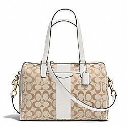 COACH F28505 Signature Stripe 12cm Nancy Satchel BRASS/LIGHT KHAKI/IVORY