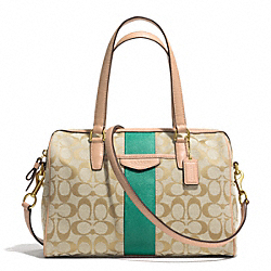 SIGNATURE STRIPE NANCY SATCHEL - f28505 - BRASS/KHAKI/EMERALD