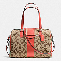 COACH F28505 Signature Stripe 12cm Nancy Satchel SVDI2