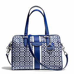 COACH F28506 Signature Stripe 6cm Nancy Satchel SILVER/NAVY/NAVY