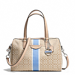 COACH F28506 Signature Stripe 6cm Nancy Satchel SILVER/LIGHT KHAKI/CORNFLOWER