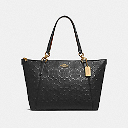 AVA TOTE IN SIGNATURE LEATHER - f28558 - BLACK/light gold