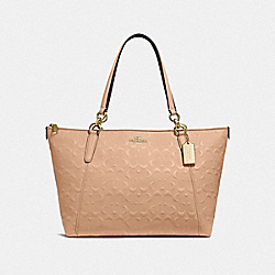 AVA TOTE IN SIGNATURE LEATHER - f28558 - BEECHWOOD/light gold