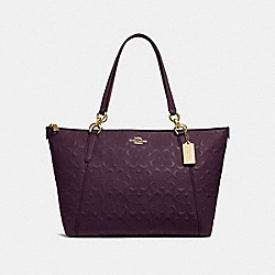 AVA TOTE IN SIGNATURE LEATHER - f28558 - oxblood 1/light gold