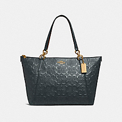 COACH F28558 Ava Tote In Signature Leather MIDNIGHT/LIGHT GOLD