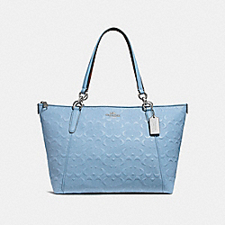 COACH F28558 - AVA TOTE IN SIGNATURE LEATHER SILVER/POOL