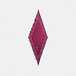 COACH F28560 Coach Floral Print Silk Diamond Scarf DARK FUCHSIA
