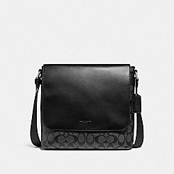 COACH F28575 Charles Small Messenger NICKEL/CHARCOAL/BLACK