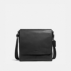 COACH F28576 Charles Small Messenger NICKEL/BLACK