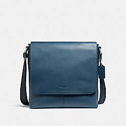 COACH F28576 Charles Small Messenger NICKEL/DENIM