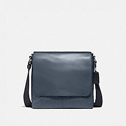 CHARLES SMALL MESSENGER IN SIGNATURE LEATHER - f28577 - Midnight Navy/NICKEL