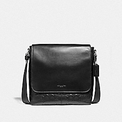 CHARLES SMALL MESSENGER IN SIGNATURE LEATHER - f28577 - NICKEL/BLACK