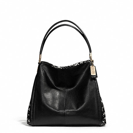 COACH F28604 MADISON TWO TONE PYTHON EMBOSSED LEATHER SMALL PHOEBE LIGHT-GOLD/BLACK
