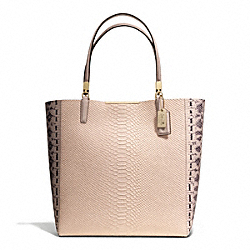 MADISON PYTHON EMBOSSED NORTH/SOUTH BONDED TOTE - f28605 - LIGHT GOLD/BLUSH