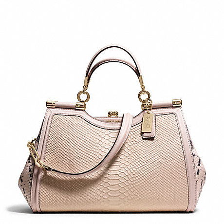 MADISON PINNACLE PYTHON EMBOSSED LEATHER CARRIE SATCHEL - COACH F28608 - LIGHT GOLD/BLUSH