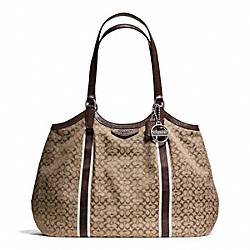 COACH F28624 Signature Stripe 6cm Shoulder Bag SILVER/KHAKI/MAHOGANY