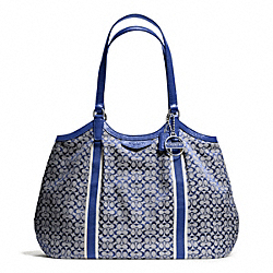 COACH F28624 Signature Stripe 6cm Shoulder Bag SILVER/NAVY/NAVY