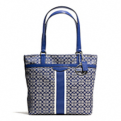 COACH F28625 Signature Stripe 6cm Tote SILVER/NAVY/NAVY