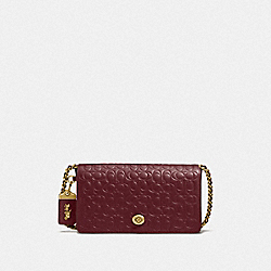 COACH F28631 - DINKY IN SIGNATURE LEATHER OL/BORDEAUX