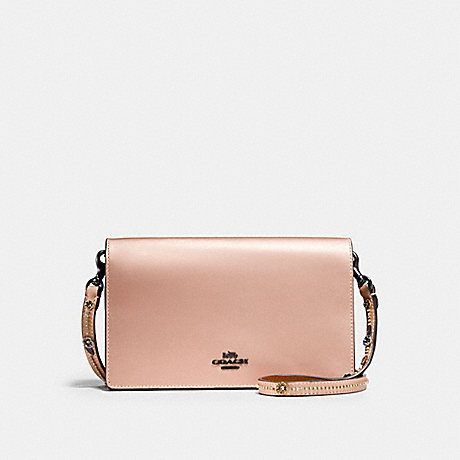 COACH F28690 CALLIE FOLDOVER CHAIN CLUTCH WITH TEA ROSE METALLIC PINK GOLD/BLACK COPPER