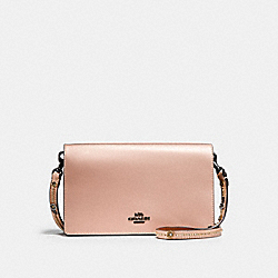 CALLIE FOLDOVER CHAIN CLUTCH WITH TEA ROSE - F28690 - METALLIC PINK GOLD/BLACK COPPER