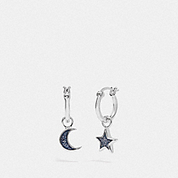 MOON AND STAR HUGGIE EARRINGS - F28712 - MULTI/RHODIUM