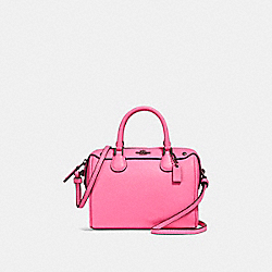 MICRO MINI BENNETT SATCHEL - f28717 - BLACK ANTIQUE NICKEL/NEON PINK