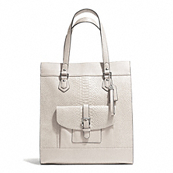 COACH F28723 - CHARLIE PYTHON TOTE  SILVER/PARCHMENT