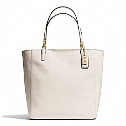 COACH F28743 - MADISON  SAFFIANO LEATHER NORTH/SOUTH TOTE LIGHT GOLD/PARCHMENT
