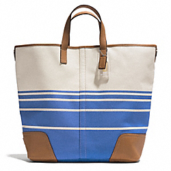 COACH F28806 - HADLEY VARIEGATED STRIPED LARGE DUFFLE SILVER/BRILLIANT BLUE