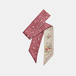 COACH F28810 - FLORAL AND DAISY BUNDLE PRINT SKINNY SCARF CHALK/VINTAGE PINK
