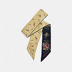 FLORAL AND DAISY BUNDLE PRINT SKINNY SCARF - f28810 - Midnight Navy/Vanilla