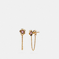 COACH F28831 Demi-fine Tea Rose Chain Earring AMETHYST/GOLD