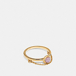DEMI-FINE SUNBURST CHAIN RING - F28833 - AMETHYST/GOLD